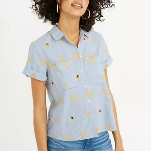 Madewell star embroidered striped shirt, size xs